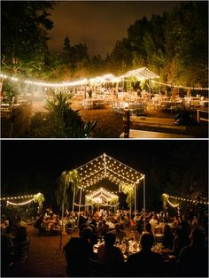 Forget the tent, just use the structure of it to hang lighting from. #weddingideas #weddinglighting #weddingchicks Captured By: Acres of Hope Photography ---> http://www.weddingchicks.com/2014/05/06/pot-your-own-succulent-centerpieces/
