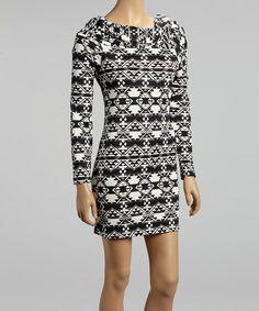 Black & White Aztec Long-Sleeve Dress #zulily #zulilyfinds