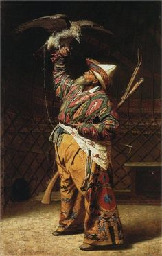 A rich Kyrgyz hunter with a falcon, 1871  Vasily Vereshchagin