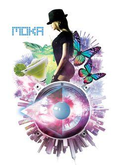 Modern summertime concept for club Moka