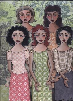 Another version of the five ladies paper-dolls  pattern