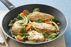 Ingredients: 4 small boneless skinless chicken breast halves (1 lb.) 1/4 cup italian dressing 1 zucchini, coarsely chopped 1/2 cup thinly sliced red onions 1 cup halved cherry tomatoes 1 cup snow peas 1/4 cup grated parmesan cheese [wp_ad_camp_3] Directions:…
