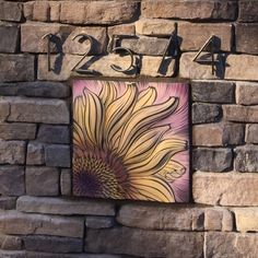 Sunflower Plaque for exterior stone pillar ~ residential commission based on client's watercolor painting ~ handmade by Natalie Blake Studios