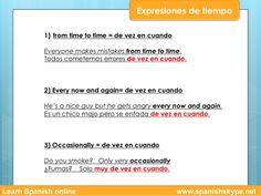 Expresiones de tiempo en español: from time to time....