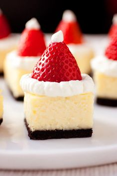 Santa Hat Cheesecake Bites - these are a hit at parties. Festive and delicious! Santa Hat Cheesecake Bites - these are a hit at parties. Festive and delicious! Holiday Desserts, Holiday Baking, Holiday Treats, Christmas Treats, Holiday Recipes, Christmas Hat, Christmas Recipes, Christmas Cakes, Merry Christmas