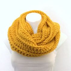 Mustard Gold Chunky Infinity Scarf, Crochet Scarf, Unisex Cowl ❤ liked on Polyvore featuring accessories, scarves, crochet round scarf, crochet scarves, tube scarves, gold infinity scarf and gold scarves