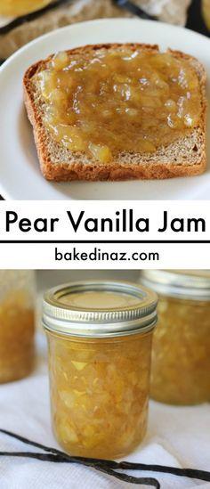 Pear Vanilla Jam - made with a real vanilla bean. Great for gift giving. bakedinaz.com