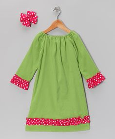 Take a look at this Green Corduroy Peasant Dress & Bow Clip - Infant, Toddler & Girls on zulily today!