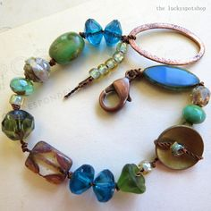 Handmade Knotted Bracelet with Picasso Czech Glass, ARTISAN jewelry, one of a kind on Etsy, $28.00