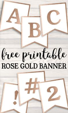 Banner alphabet letters to make a cust… Free Printable Rose Gold Banner Template. Banner alphabet letters to make a custom party banner for a birthday, wedding, baby shower or event. Happy Birthday Banner Printable, Birthday Banner Template, Happy Birthday Banners, Birthday Invitations, Gold Banner, Diy Banner, Gold Letters, Make A Banner, Photobooth Baby Shower