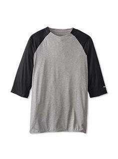 Reebok Men's Casual Baseball Three Quarter Sleeve Top (Black/Dark Grey Heather)
