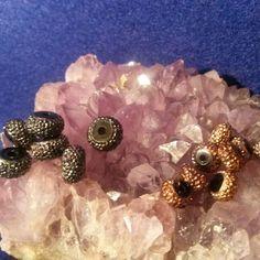 Small round glittery bronze beads, medium round glittery silver beads #newjewlz #hempjewlz #hemp #jewelry #beads #round #small #glittery #bronze #medium #glittery #silver