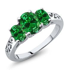 346 Ct 3Stone Oval Green Simulated Emerald 925 Sterling Silver Womens Ring *** Be sure to check out this awesome product.Note:It is affiliate link to Amazon. #commenter