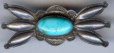HANDSOME VINTAGE NAVAJO INDIAN SILVER TURQUOISE STAMPWORK PIN