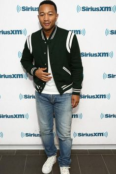 John Legend wearing Common Projects Original Achilles Leather High-Top Sneakers and Saint Laurent Teddy Bomber Jacket