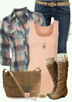 Absolutely love the colors of the plaid and tank top!