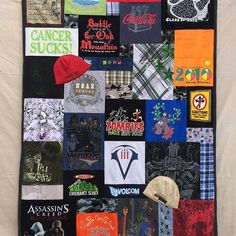 Last t shirt quilt for 2016. It feels good to be done!  In memory of Noah #cancer #cancerawareness #cancersucks #memoryquilt #memorymaker #tshirtquiltlady #auroracolorado #mossrecreations #inmemoryof #inmemoryofyou #recycledclothing #upcycledclothing #for