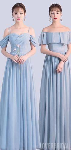 Chiffon Blue Mismatched Cheap Bridesmaid Dresses Online, WG758#bridesmaids #bridesmaiddress #bridesmaiddresses #dressesformaidofhonor #weddingparty #2020bridesmaiddresses