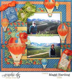 Scrap, Travel, and Bark!  Layout with World's Fair collection.