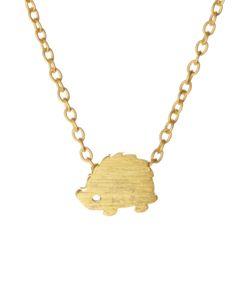 Gold Hedgehog Pendant Necklace