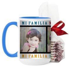 Mi Familia Mi Vida Mi Felicidad Mug, Light Blue, with Ghirardelli Peppermint Bark, 15 oz, White