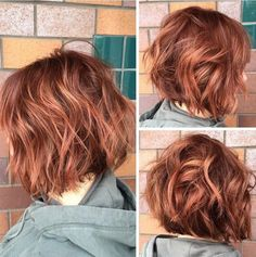 Red color and a textured bob haircut - Short hairstyles for thick hair