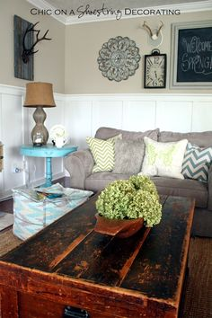 My Farmhouse Chic Living Room Reveal. I love the old trunk as a coffee table