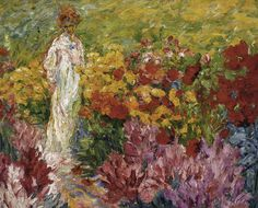 "terminusantequem: "" Emil Nolde (German, 1867-1956) - Flower Garden. Woman in White Dress en face (1908) """
