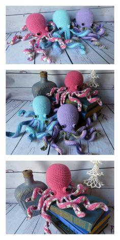 Octopus Crochet Pattern Free, Crochet Fish, Crochet Eyes, Crochet Octopus, Crochet Amigurumi Free Patterns, Crochet Blanket Patterns, Free Crochet, Crochet Animals, Free Knitting