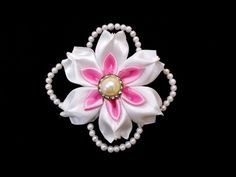 Kanzashi Flowers with Beads : How To Make DIY Satin Ribbon Flower | Wedd...