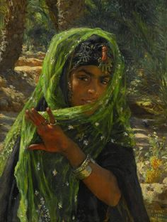 Young Girl with a Veil - Alphonse-Etienne Dinet