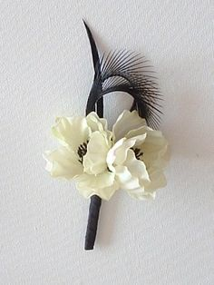 Boutonniere  Anemone and Feathers  Small  Off White by ynasbridal, $7.00