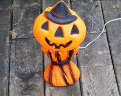 20% OFF...Vintage Halloween Blow Mold Pumpkin Jack by cybersenora