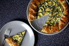 zucchini ricotta galette, served
