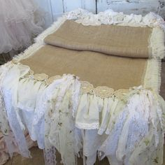 Handmade wide runner farmhouse chic burlap and white tattered fabric table linen shabby romantic home oe wedding decor anita spero design
