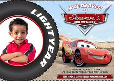 Disney cars mater 7x5 in birthday party invitation with free disney cars 7x5 in birthday party invitation with free editable thank you card cars birthday filmwisefo