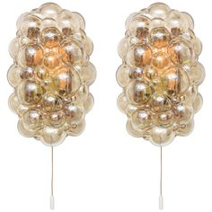 """Pair of Mid-Century Modern """"Bubble-Glass"""" Wall Sconces, Germany, 1960s 
