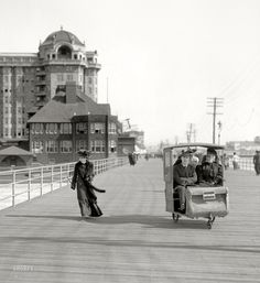 """The Jersey shore circa 1906. """"Rolling chair on the Boardwalk, Atlantic City."""""""