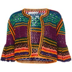 This **Spencer Vladimir** Tulum Bell Crochet Cardigan features an allover multi color stripe, elbow length bell sleeves, and a waist length hem. Pull Crochet, Crochet Coat, Crochet Jacket, Crochet Cardigan, Crochet Shawl, Crochet Clothes, Tricot Simple, Multi Coloured Cardigans, Crochet Vintage