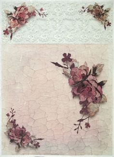 Ricepaper for Decoupage Decopatch Scrapbook Craft Sheet A/3 Roses on Crackle