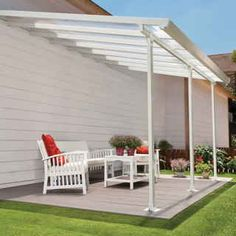 Enjoy sitting out in the garden again with the Feria 4200 Patio Cover. This 10-foot-by-14-foot sloped awning is made of bright white, durable polycarbonate framed in white powder-coated heavy-duty aluminum. It protects against UV rays while letting the filtered light shine through -- the perfect solution for your deck, patio, porch, or other outside area!The Feria 4200 creates a sunroom without walls, and you'll love the fresh breezes blowing through this space as you entertain, admire your…