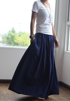 Blue skirt  fashon skirts Long Skirts Linen Skirt by fashiondress6, $58.00