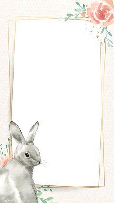Bunny and flower Easter frame vector Easter Bunny Template, Easter Templates, Easter Egg Pattern, Easter Printables, Ostern Wallpaper, Festival Paint, Easter Festival, Easter Illustration, Easter Backgrounds