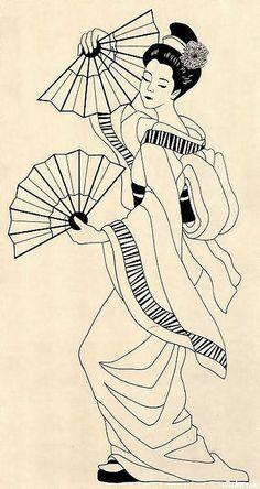 Para um quadro mais trabalhoso - Geisha by Recuerdos del arcoiris - via Flickr