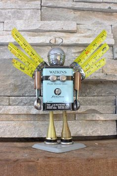Blue Angel the Upcycled Robot by FairyJunkMother on Etsy