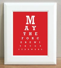 STARWARS - EYE TEST CHART ART PRINT May The Force Be RED 10x8 Bedroom Wall Gifts