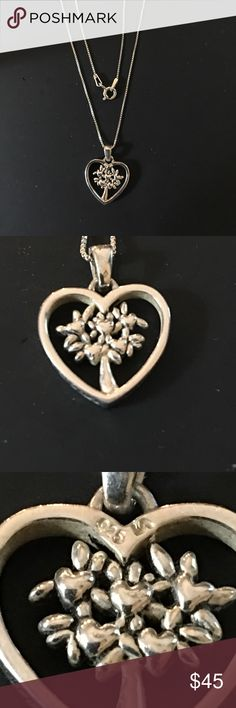 """Sterling Silver Tree of Life Heart Pendant Sterling Silver Pendant and chain.. Chain is small box link Sterling Silver measures 19"""" in length. Spring ring closure. Just a beautiful piece. Jewelry Necklaces"""