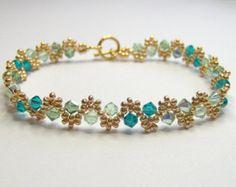 Pulsera de swarovski verde elementos, joyas de oro y verde, bicono pulsera, joyería verano, regalo del día de las madres, BR002