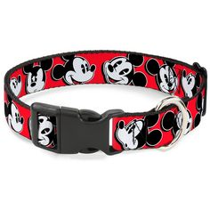 Buckle-Down Mickey Mouse Expressions Red/Black/White Plastic Clip Collar, Wide Large/18-32'