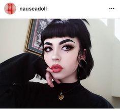 Nauseadoll black bangs makeup pale skin